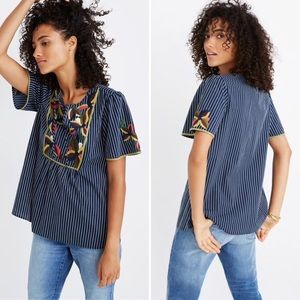 Embroidered Navy Blue Stripe Top